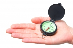 Navigation hand with compass