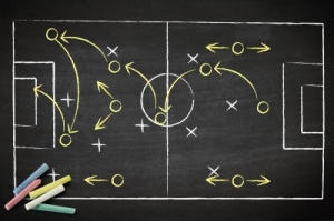 Soccer tactics on chalkboard