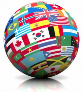 Globe covered in country flages