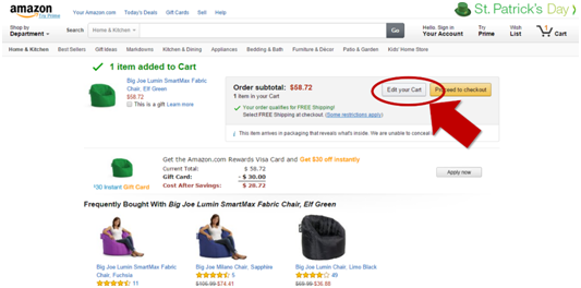 Amazon Edit Cart