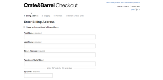 Crate and Barrel Checkout Process