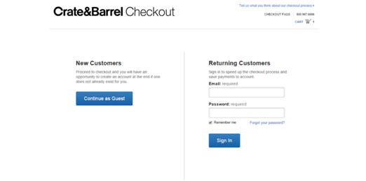 Crate & Barrel Guest Checkout