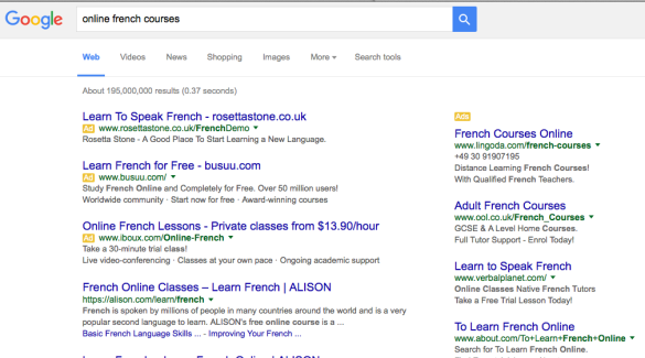 Example of google adwords ads
