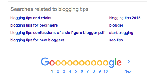 google search for bloggng ideas